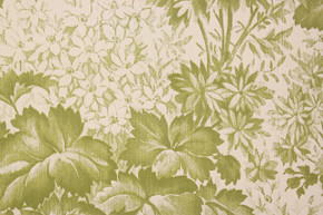 1970's Vintage Wallpaper Leaves and Flowers Green Vinyl