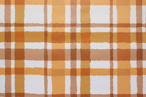 1970's Vintage Wallpaper Orange and Brown Plaid Vinyl