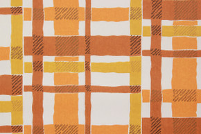 1970's Vintage Wallpaper Orange and Brown Plaid