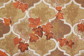 1970's Vintage Wallpaper Orange Ivy