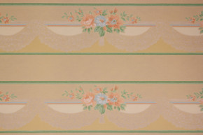 1940's Vintage Wallpaper Border Peach and Blue Flowers Lace Swag