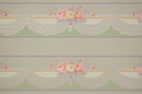 1940's Vintage Wallpaper Border Pink and Yellow Flowers Lace Swag