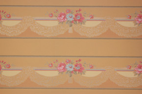 1940's Vintage Wallpaper Border Pink and Blue Flowers Lace Swag