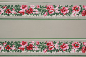 1940's Vintage Wallpaper Border Pink Flowers on Green