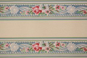 1930's Vintage Wallpaper Border Bouquets on Blue
