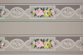 1940's Vintage Wallpaper Border Pink and Yellow Flowers on Gray