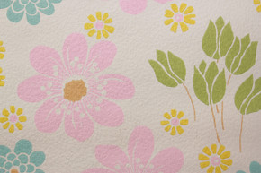 1970's Vintage Wallpaper Pink Blue and Yellow Flowers