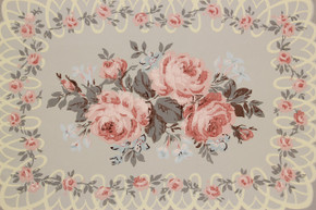 1940's Vintage Wallpaper Pink Roses with Lace