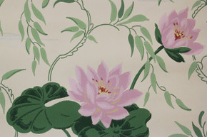 1940's Vintage Wallpaper Pink Water Lilies on White