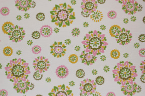 1970's Vintage Wallpaper Pink, Yellow and Green Floral