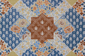 1970's Vintage Wallpaper Quilt Pattern Blue and Brown
