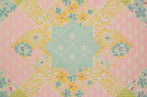 1970's Vintage Wallpaper Quilt Pattern Pink and Blue