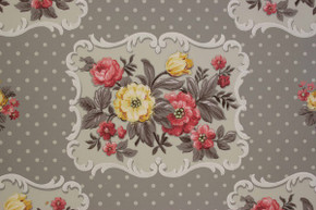 Red and Yellow Flowers on Gray Vintage Wallpaper