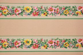 1930's Vintage Wallpaper Border Red and Yellow Flowers on Green