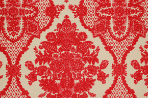 1970's Vintage Wallpaper Red Large Flocked Damask on Gold