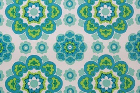 1970's Vintage Wallpaper Retro Blue and Green Geometric