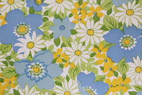 1970's Vintage Wallpaper Retro Flowers Blue and White