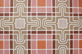 1970's Vintage Wallpaper Retro Geometric Pink and Brown