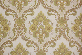 1970's Vintage Wallpaper Retro Green and Gold Damask Vinyl