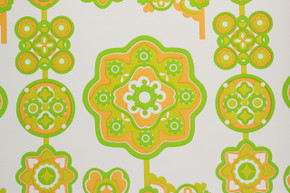 1970's Vintage Wallpaper Retro Green and Orange Design