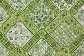 1970's Vintage Wallpaper Green Geometric Floral