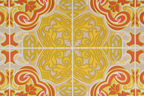 1970's Vintage Wallpaper Retro Mod Orange and Yellow Geometric