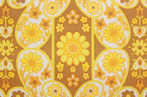 1970's Vintage Wallpaper Retro Mod Yellow Flowers