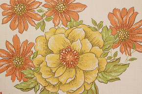 1970's Vintage Wallpaper Yellow and Orange Flowers