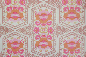 1970's Vintage Wallpaper Retro Pink and Orange Flowers Vinyl