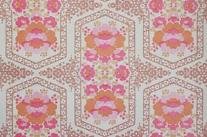 1970's Vintage Wallpaper Retro Pink and Orange Flowers Vinyl