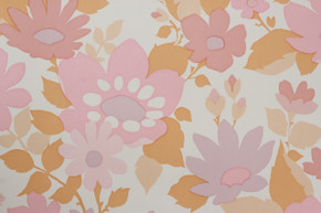 1970's Vintage Wallpaper Retro Pink Flower