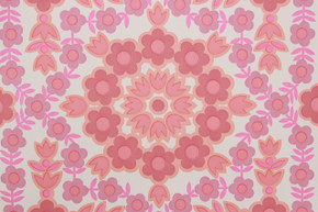 1970's Vintage Wallpaper Retro Pink Geometric Floral