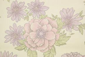 1970's Vintage Wallpaper Retro Purple Flowers