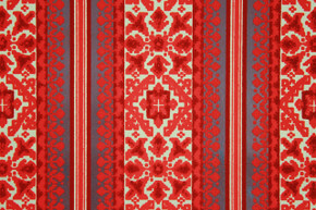 1970's Vintage Wallpaper Retro Red Black and Gold Flocked