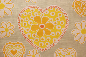 1970's Vintage Wallpaper Retro Yellow Hearts and Flowers