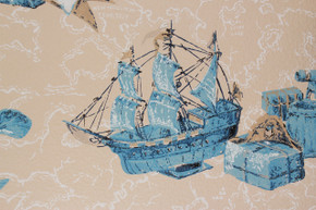 1970's Vintage Wallpaper Ships and Maps Blue