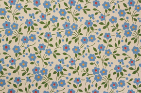 1970's Vintage Wallpaper Small Blue Flowers Vinyl