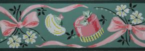 Kem-Decorator Vintage Wallpaper Border Powder Room Green