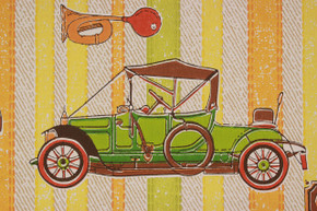 1970's Vintage Wallpaper Cars and Trains