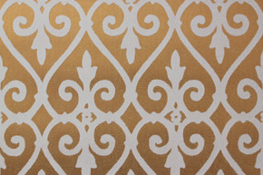 1970's Vintage Wallpaper White and Gold Flocked Damask Design
