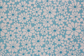 1970's Vintage Wallpaper White Daisies on Blue