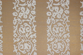 1970's Vintage Wallpaper White Floral Flocked Stripe on Gold