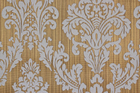 1970's Vintage Wallpaper White Large Flocked Damask on Gold