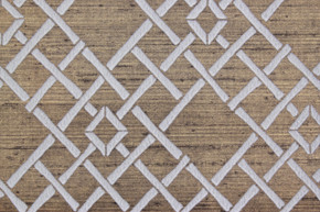 1970's Vintage Wallpaper White Lattice Flocked on Gold