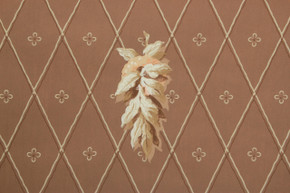1930's Vintage Wallpaper White Leaves on Brown