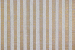 1970's Vintage Wallpaper White Flocked Stripe on Gold