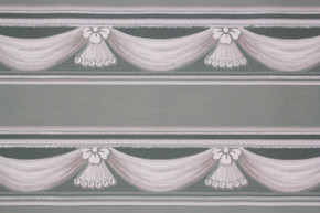 1940's Vintage Wallpaper Border Swags on Teal