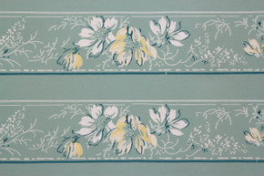 1940's Vintage Wallpaper Border White and Yellow Flowers