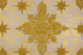1970's Vintage Wallpaper Flocked Yellow Gold Starbursts