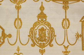 1970's Vintage Wallpaper Golden Yellow Flocked Victorian Design